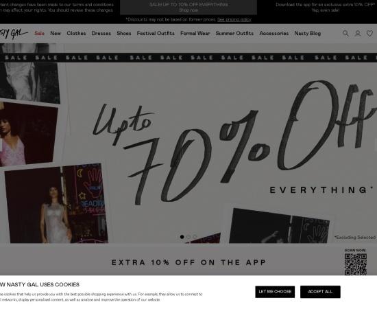 Screenshot of www.nastygal.com