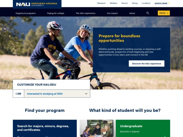 Screenshot of www.nau.edu