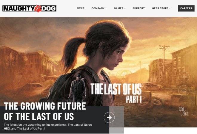 Screenshot of www.naughtydog.com