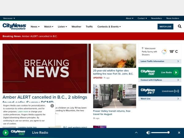 Screenshot of www.news1130.com