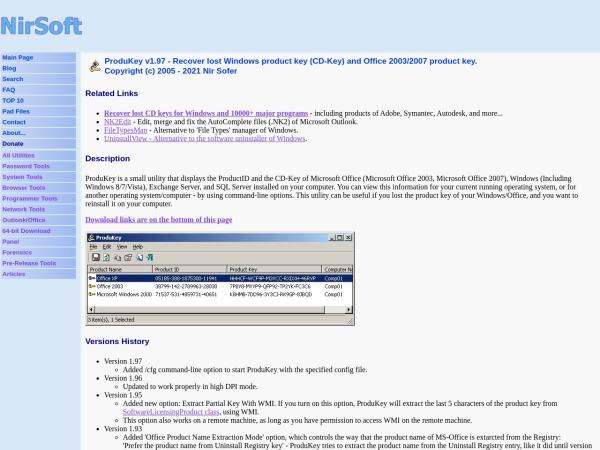 Screenshot von www.nirsoft.net