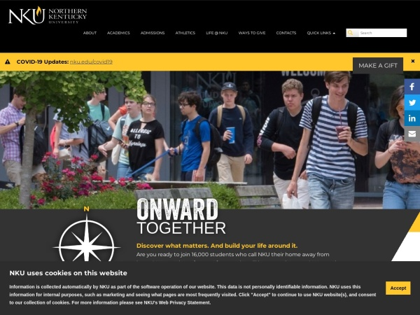 Screenshot of www.nku.edu