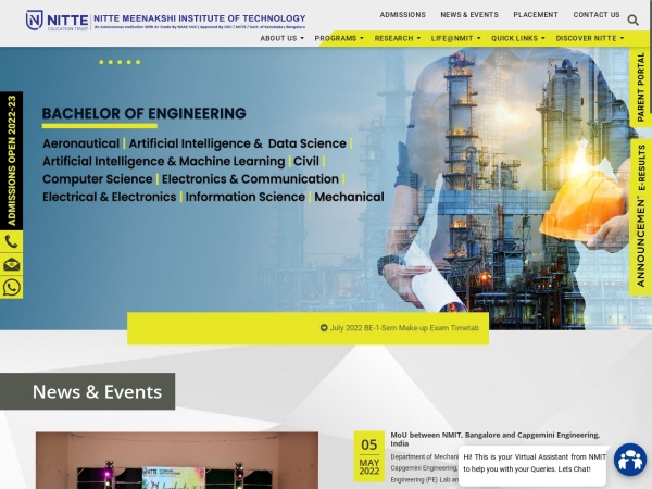 Screenshot of www.nmit.ac.in
