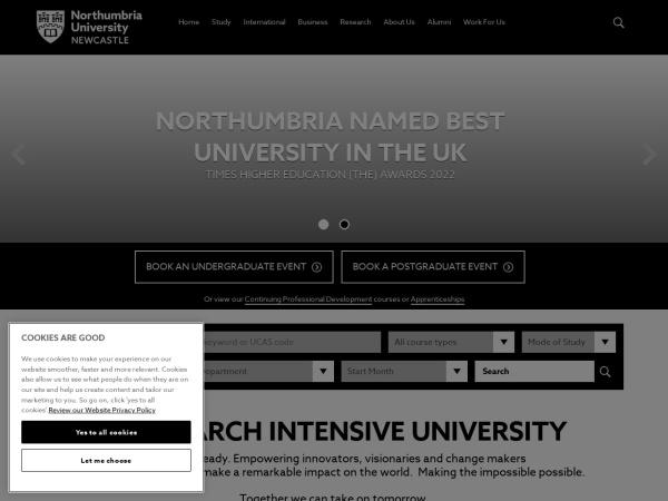 Screenshot of www.northumbria.ac.uk