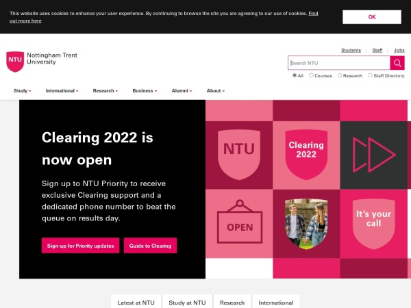 Screenshot of www.ntu.ac.uk