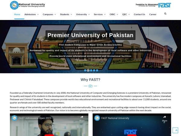 Screenshot of www.nu.edu.pk