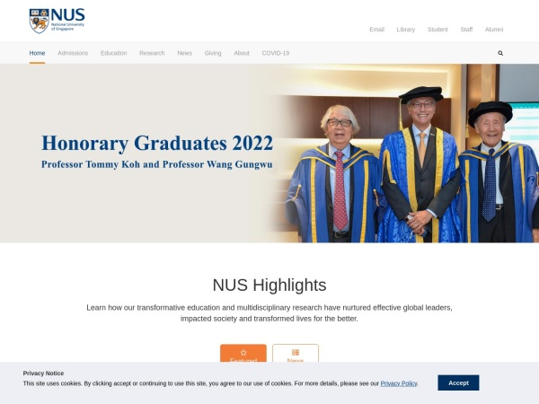 Screenshot of www.nus.edu.sg