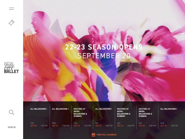 Screenshot of www.nycballet.com