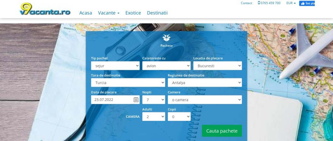 Screenshot of www.o9vacanta.ro