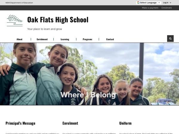 Screenshot of www.oakflats-h.schools.nsw.edu.au