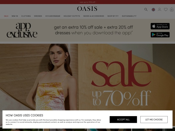 Screenshot of www.oasis-stores.com