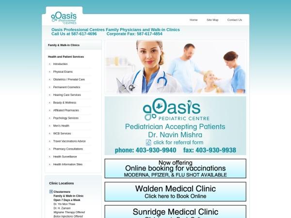 Screenshot of www.oasismedicalclinic.ca