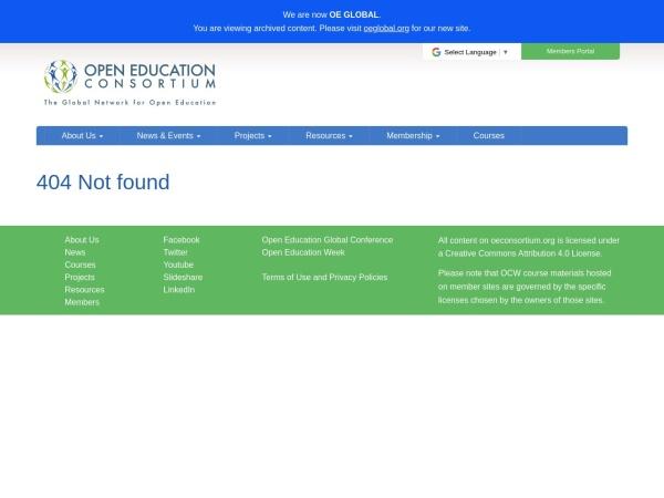 Screenshot of www.ocwconsortium.org