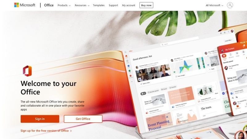 Screenshot of www.office.com