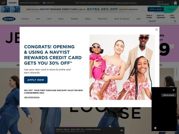 Screenshot of www.oldnavy.com
