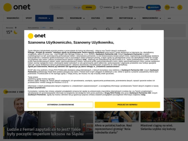 Screenshot of www.onet.pl