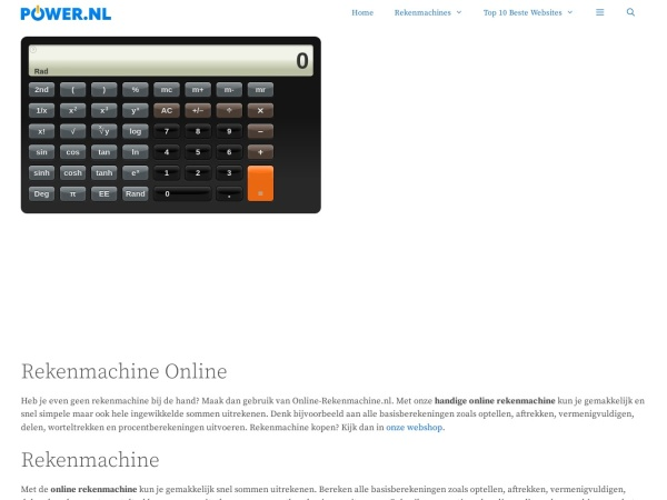 Screenshot of www.online-rekenmachine.nl