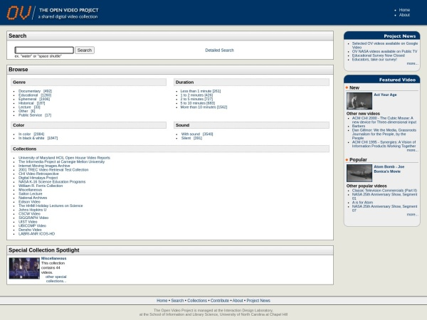 Screenshot of www.open-video.org