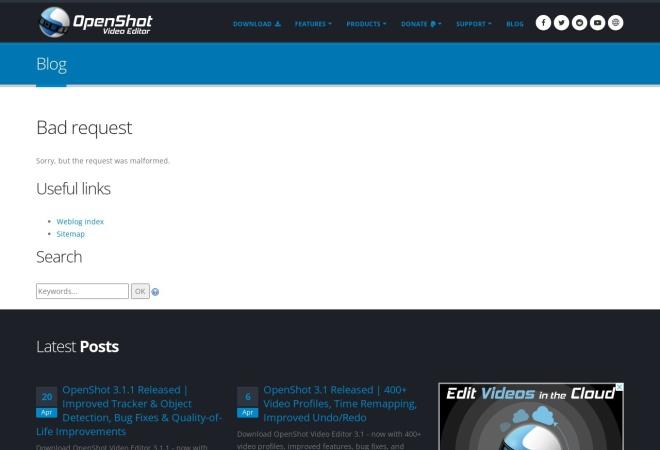 Screenshot of www.openshotvideo.com