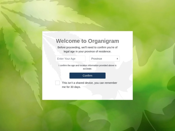Screenshot of www.organigram.ca