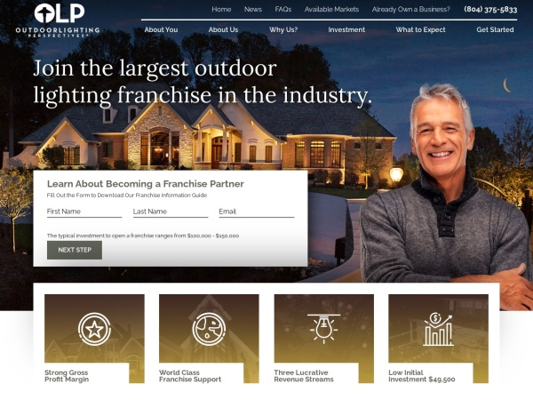 Screenshot of www.outdoorlightingfranchise.com