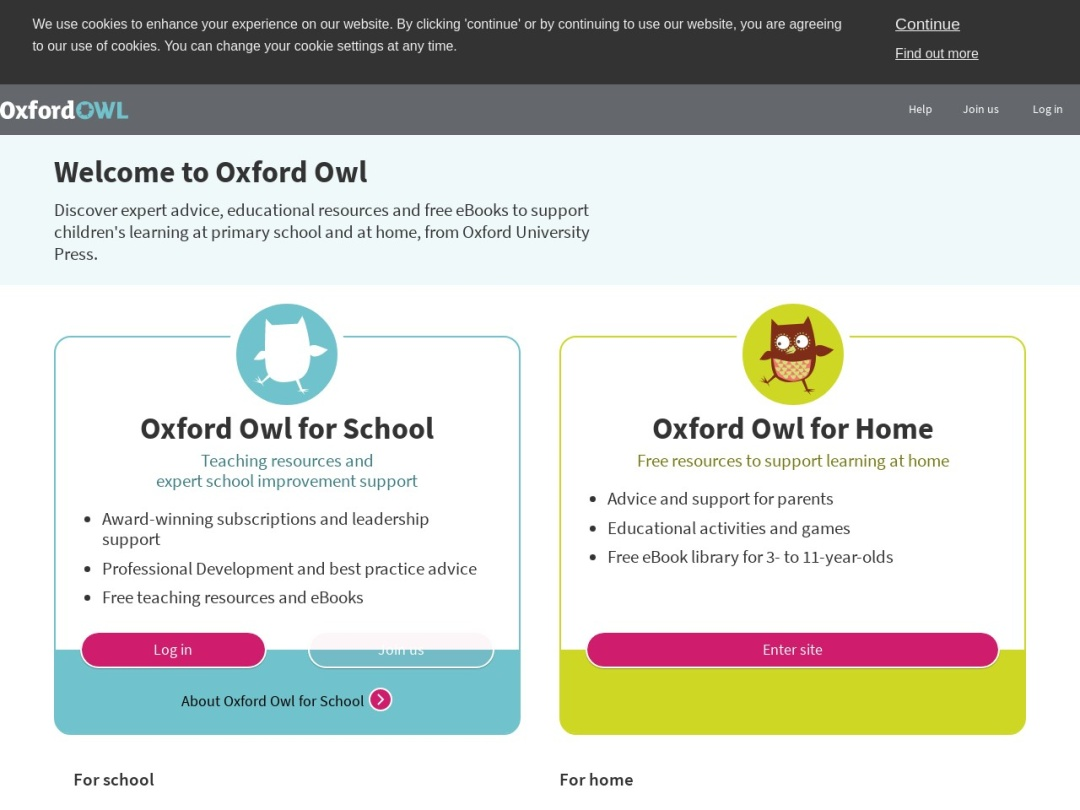 Screenshot of www.oxfordowl.co.uk