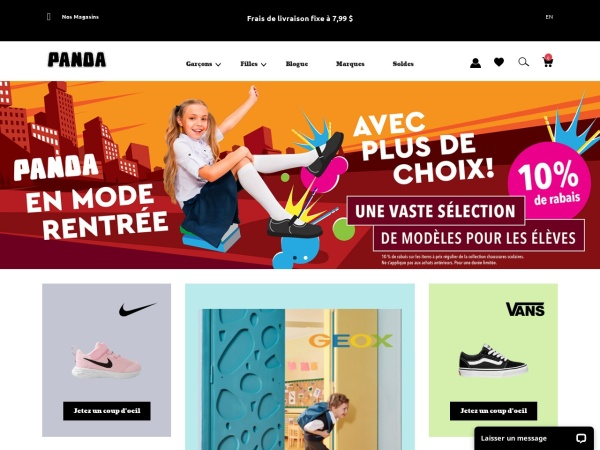 Screenshot of www.pandashoes.com