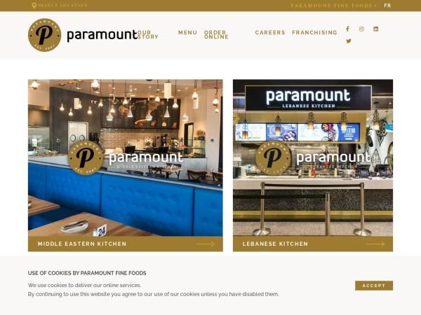Screenshot of www.paramountfinefoods.com