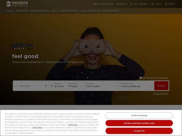 Screenshot of www.parkinn.com