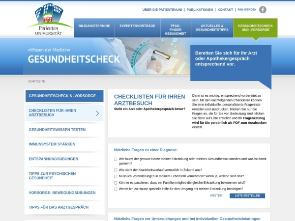 Screenshot von www.patienten-universitaet.de