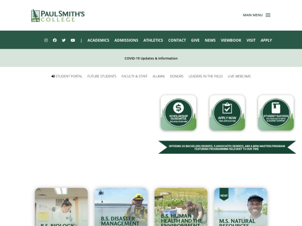 Screenshot of www.paulsmiths.edu
