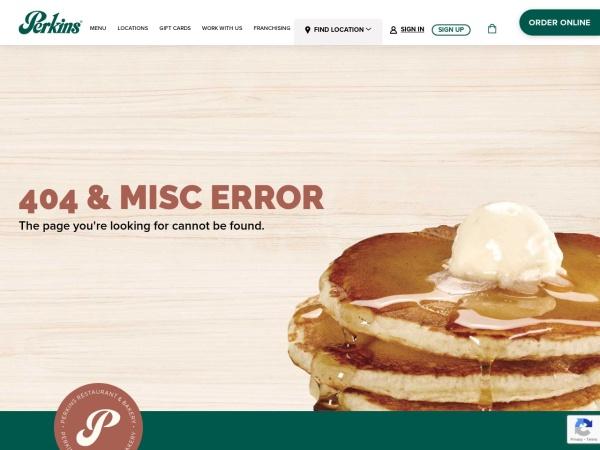 Screenshot of www.perkinsrestaurants.com
