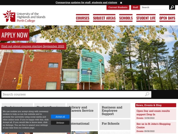 Screenshot of www.perth.uhi.ac.uk