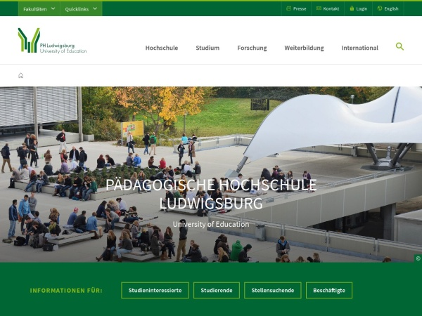 Screenshot of www.ph-ludwigsburg.de