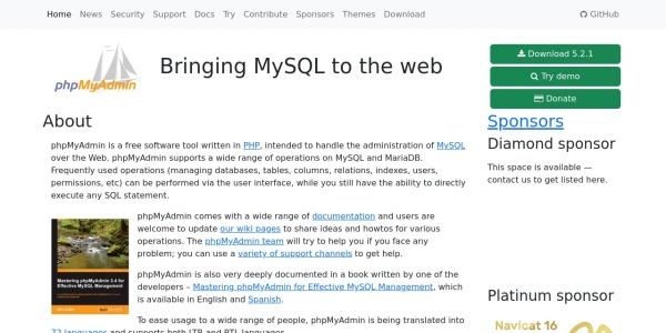 Screenshot of www.phpmyadmin.net