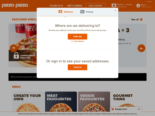 Screenshot of www.pizzapizza.ca