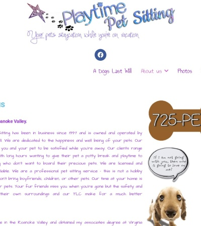 Screenshot of www.playtimepetsitting.net