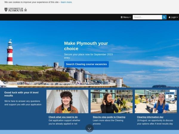 Screenshot of www.plymouth.ac.uk