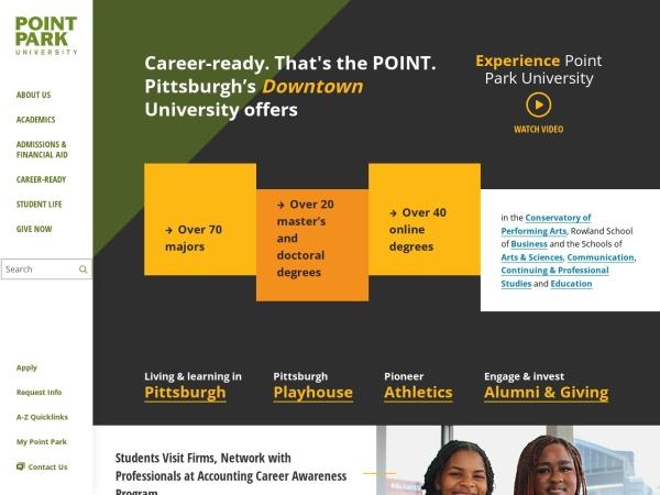 Screenshot of www.pointpark.edu