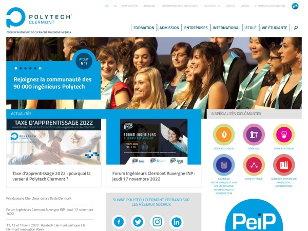 Screenshot of www.polytech-clermont.fr