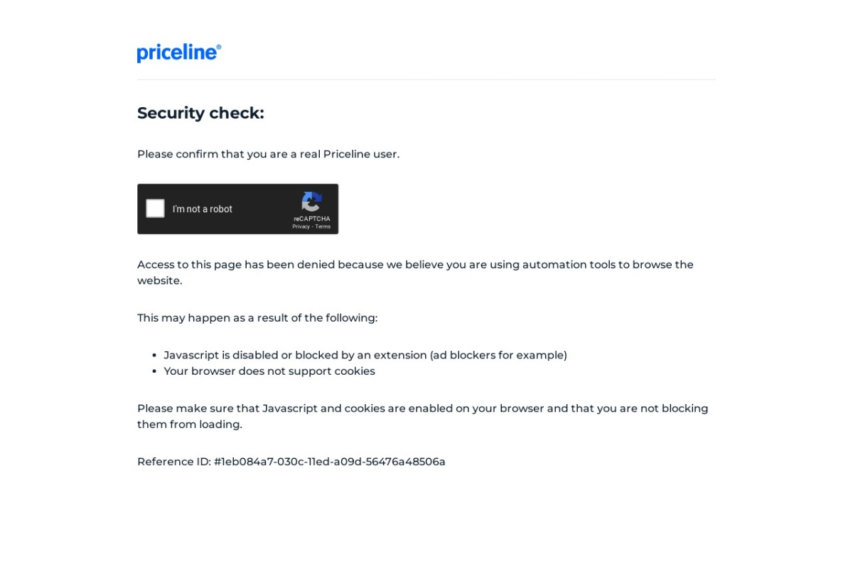 Screenshot of www.priceline.com