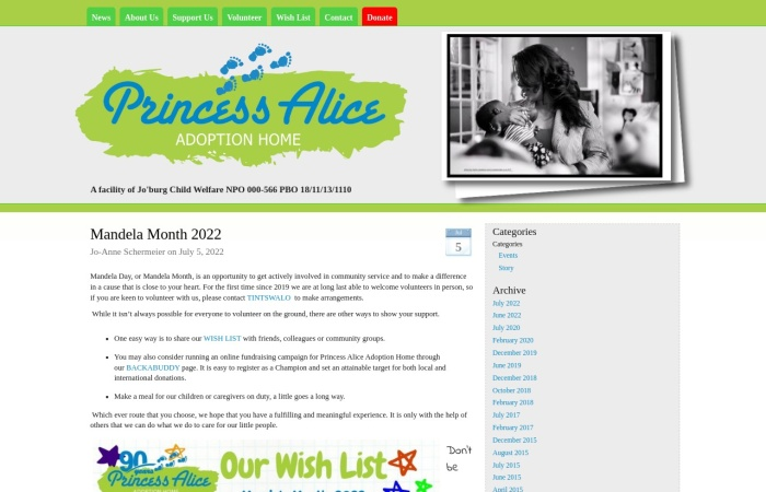 Screenshot of www.princessalice.org.za