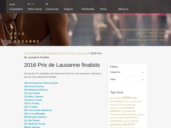 Screenshot of www.prixdelausanne.org