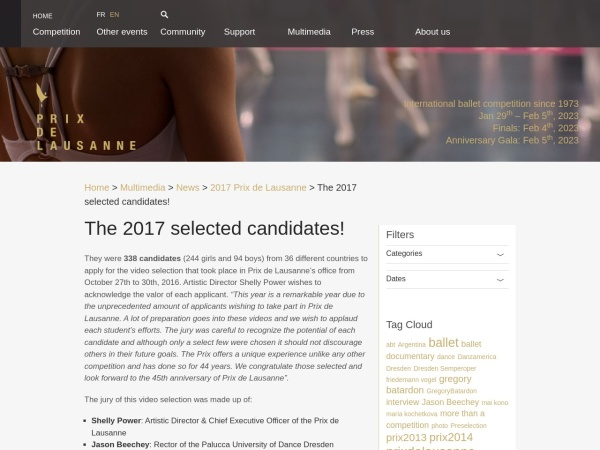 http://www.prixdelausanne.org/2017-selected-candidates/