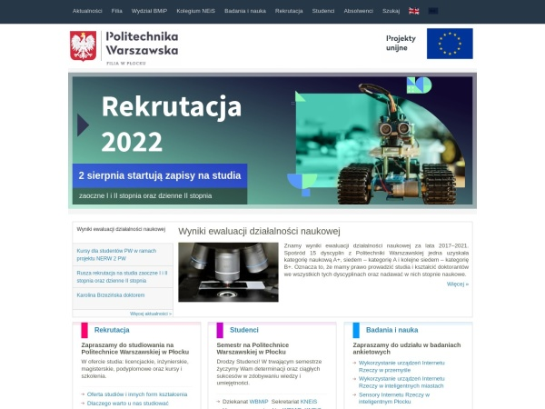 Screenshot of www.pw.plock.pl