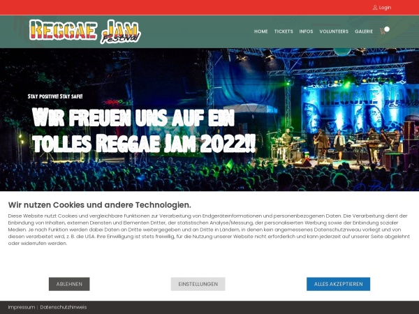 Screenshot of www.reggaejam.de