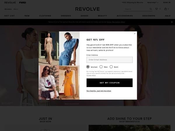 Screenshot of www.revolve.com