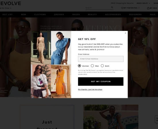 Screenshot of www.revolveclothing.com