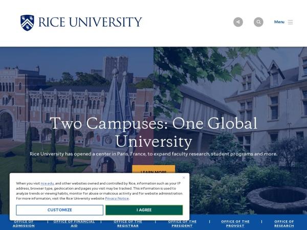 Screenshot of www.rice.edu