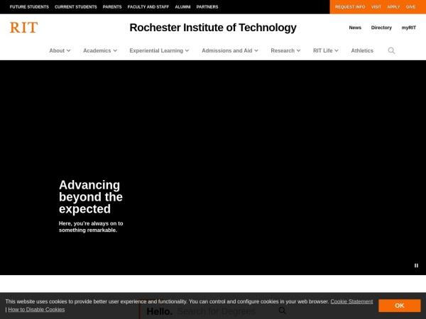 Screenshot of www.rit.edu